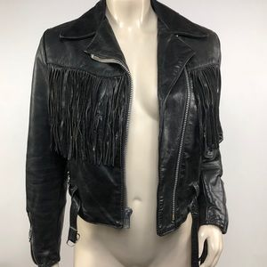 Vintage Black Leather Fringe Biker Jacket Size M
